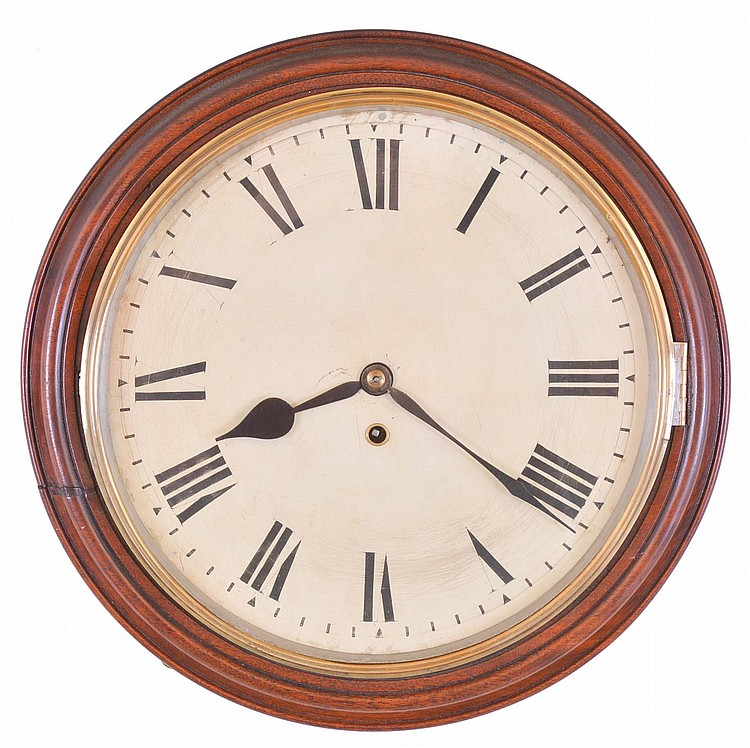 English dial clock, mahogany case with nicely turned, molded front, brass bezel, Roman numeral white enamel dial, blued steel hands, eight day fusee timepiece movement