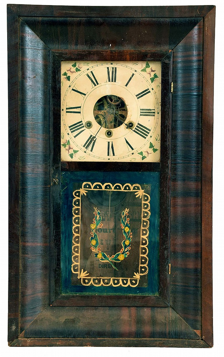Clocks- 6 (Six): (1) Sperry & Shaw, New York, NY, OG shelf clock with a 30 hour weight driven time, strike and alarm brass movement, c1848. (2) William L. Gilbert Clock Co., Winsted, Conn., OG shelf clock with a 30 hour weight driven time and strike