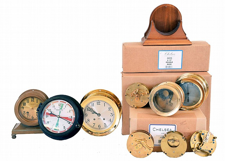 Clocks and Parts, Chelsea Clock Company: 5 movements, 3 ship's bells, 2 time only; Timemaster quartz radio room in black phenolic case;