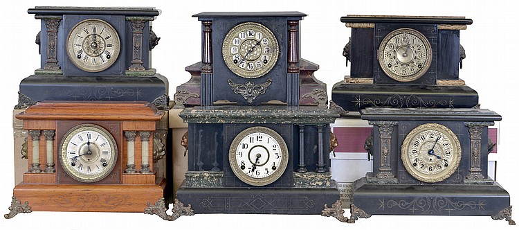 Clocks- 6 (Six): (1) William L. Gilbert Clock Co., Winsted, Conn., 8 day, time and strike spring brass movement painted wood case mantel clock. (2) Seth Thomas Clock Co., Thomaston, Conn., 8 day, time and strike spring brass movement mantel clock in