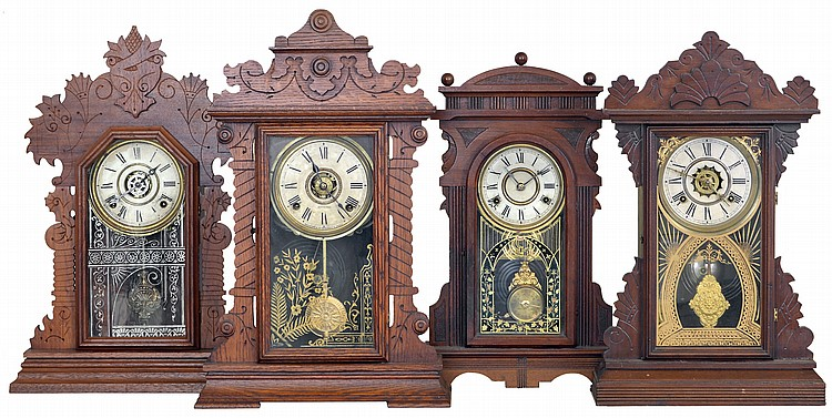 Clocks- 4 (Four): (1) E. Ingraham & Co., Bristol, Conn.,