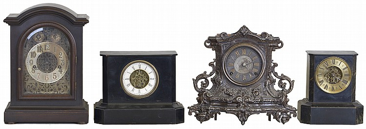 Clocks- 4 (Four): (1) French, 8 day, spring brass movement mantel clock, c1890 (2) Nicholas Muller, New York, 8 day, time and strike spring brass movement cast spelter front mantel clock, c1874 (3) French, 8 day, spring brass movement mantel clock,