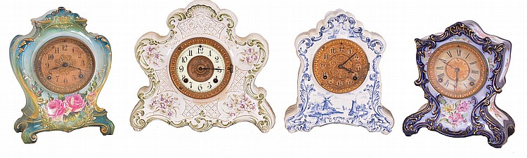 Clocks- 4 (Four): (1) Ansonia Clock Co., New York, NY, 8 day, time and strike spring brass movement porcelain mantel clock, c1910 (2) Ansonia Clock Co., New York, NY, 8 day, time and strike spring brass movement porcelain clock, c1910 (3) Ansonia