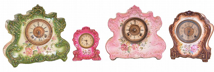 Clocks- 4 (Four): (1) Ansonia Clock Co., New York, NY,