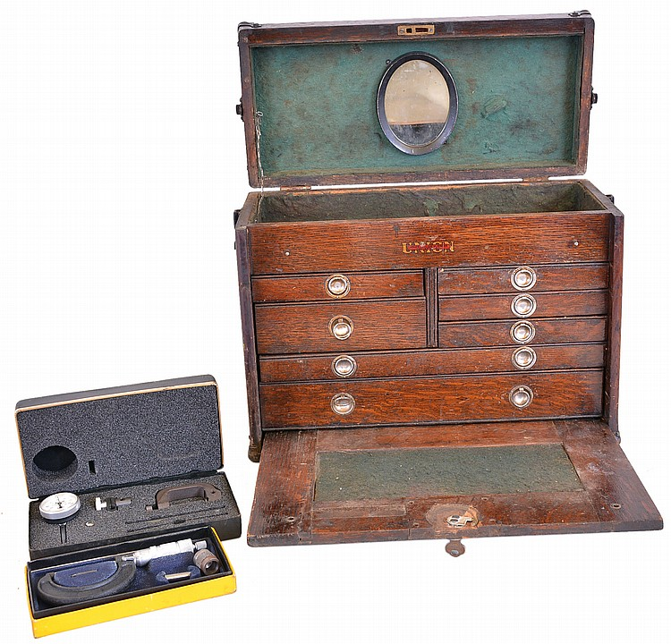 Union Tool Chest Works, Rochester, NY machinist's chest in oak, with seven drawers full of tools including rulers, calipers, micrometer, squares, etc