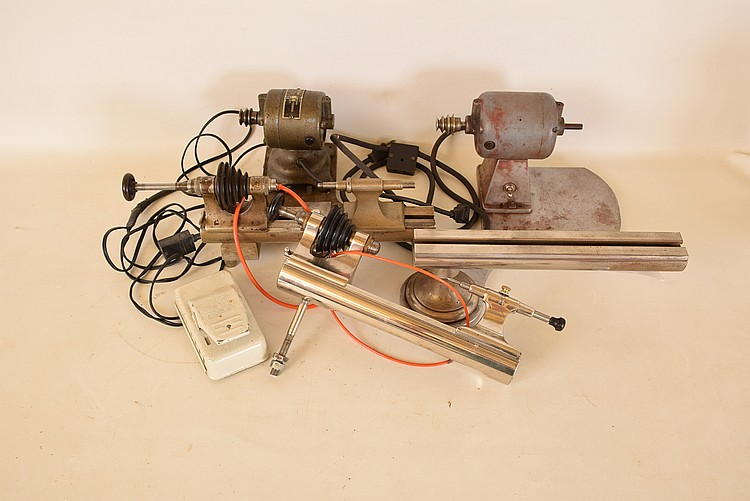 Three watchmakers lathes for parts or restoration, the first an 8mm American Watch Tool Co., with Borel base, motor, and foot control, the next an 8mm Elson, and the last a bed only mounted to an aluminum plate with motor