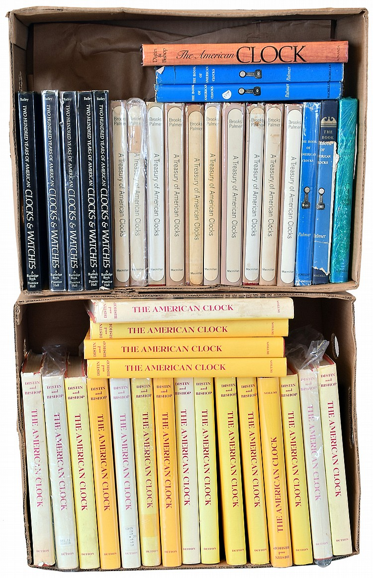 Books- 40 (Forty) Classic out- of- print hardcover clock reference books, two boxloads for dealer resale: 20 Distin & Bishop
