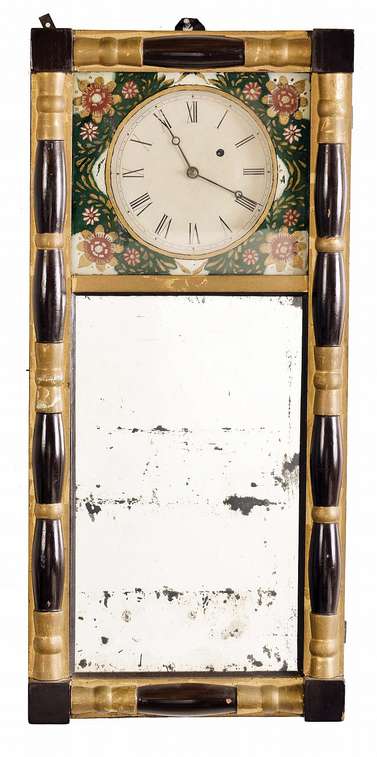 Unknown maker, New Hampshire, 8 day, weight brass movement mirror timepiece.