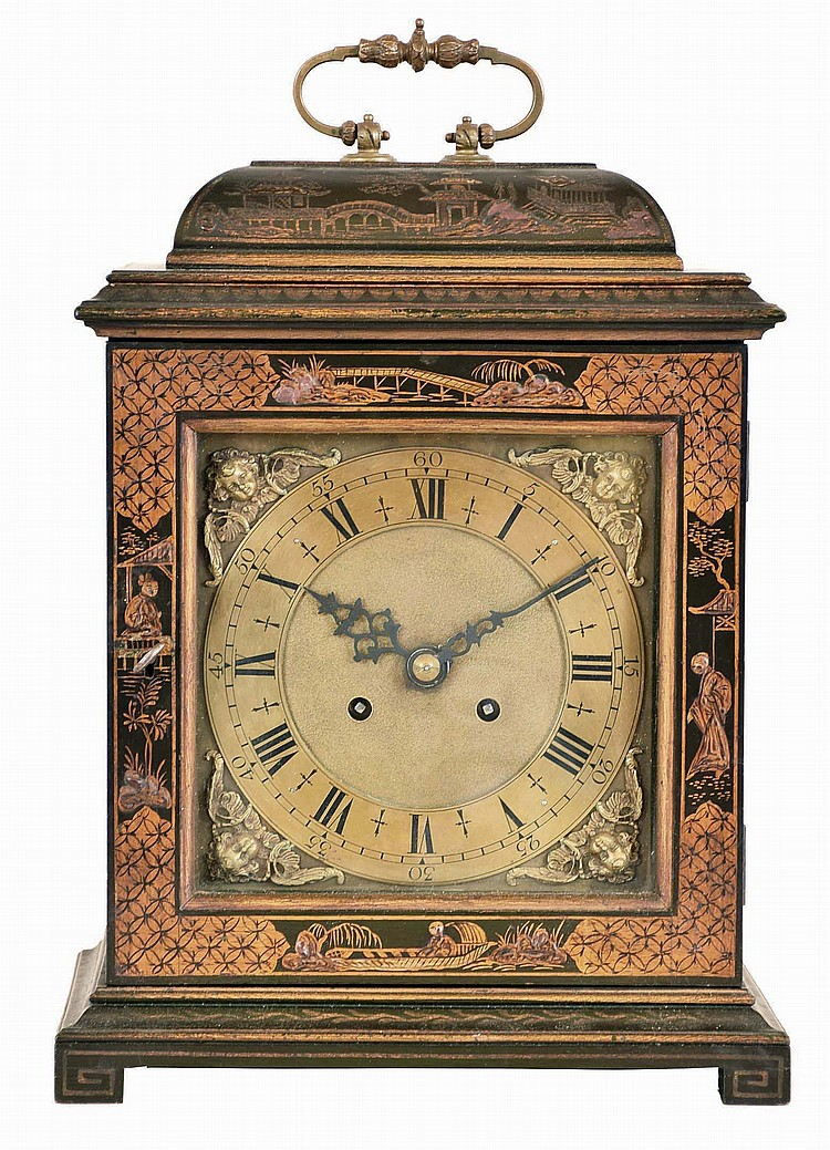 German, 8 day, time and strike spring brass movement lacquered oriental design bracket clock.