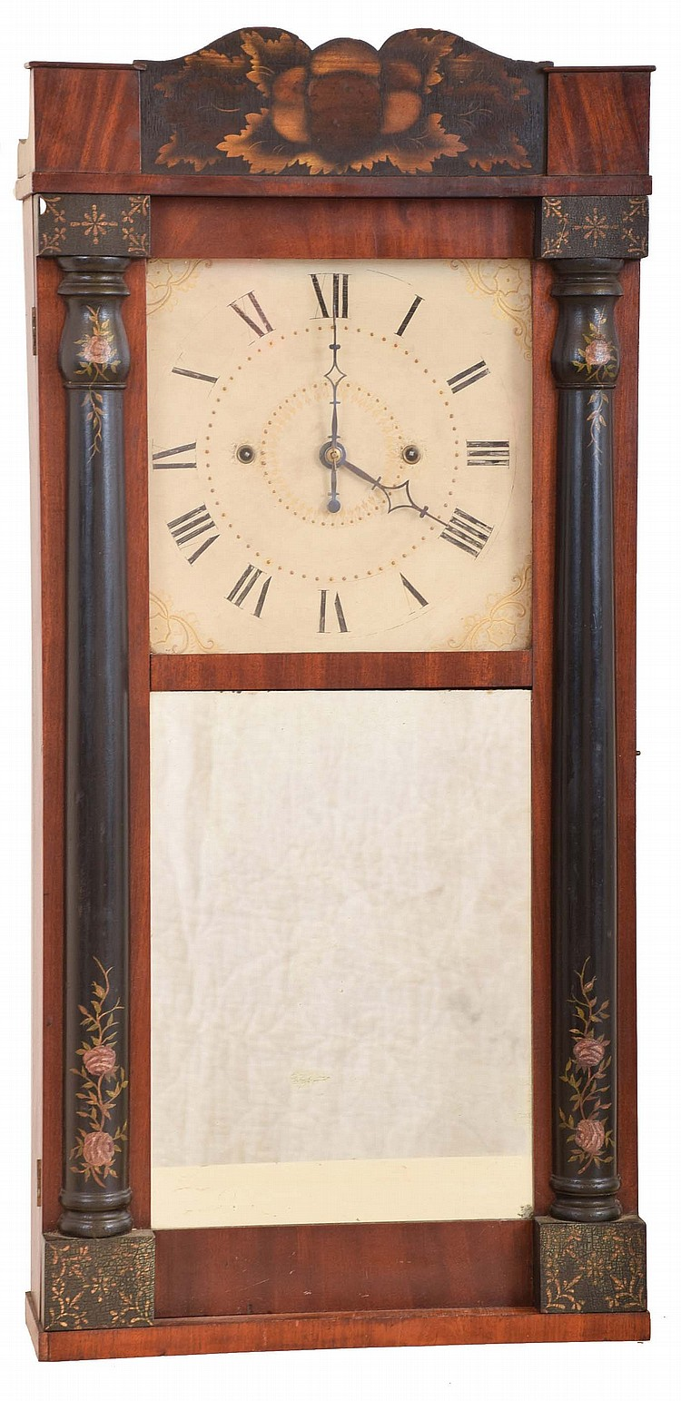George Mitchell, Bristol, Conn., 30 hour, time and strike weight wood movement half column & splat shelf clock.