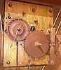 George Mitchell, Bristol, Conn., 30 hour, time and strike weight wood movement half column & splat shelf clock.