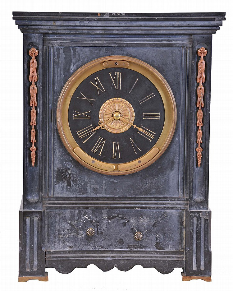 France, black slate mantel clock with Maxant patent winding, rectilinear case with brass feet and applied brass ornament, Roman numeral slate dial, gilt hands, 8 day time and strike pendule de Paris movement