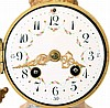 France, mantel clock with garniture, pink variegated portico style clock with gilt ornament, Arabic numeral white enamel dial, gilt Louis XV style hands, Helios mask pendulum, 8 day time and strike pendule de Paris movement, with matching, vase form
