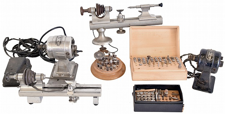 Watch tools and parts: includes three staking sets by Moseley, K&D; two 8mm lathes by American Watch Tool Co. and Derbyshire; Bulova kits; collet sets; case and crystal presses; stones; and many hand tools