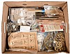 Tools and parts, clockmaker's shop extravaganza, including cable, pulleys, suspension springs, verges, pendulum leaders, taper pins, adhesives, test stands, small bench vices, Dremel tool, Optivisors etc. and a Watchmaker's Bench, Moderna, Inc., USA,