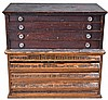 Watch crystals, glass for pocket watches 8 divided drawers in 2 antique wood cabinets (one with crystal sizes on drawer pulls), new / old stock with original individual stickers