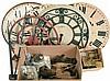 Clocks, clock movements, oak machinist chest, large modern dials. Includes Kieninger 9- tube HTU06 movement in Lucite bonnet.
