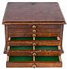 Three watchmakers storage cabinets, one in walnut, and with 6 drawers, the other two in soft wood and plywood, each with four drawers
