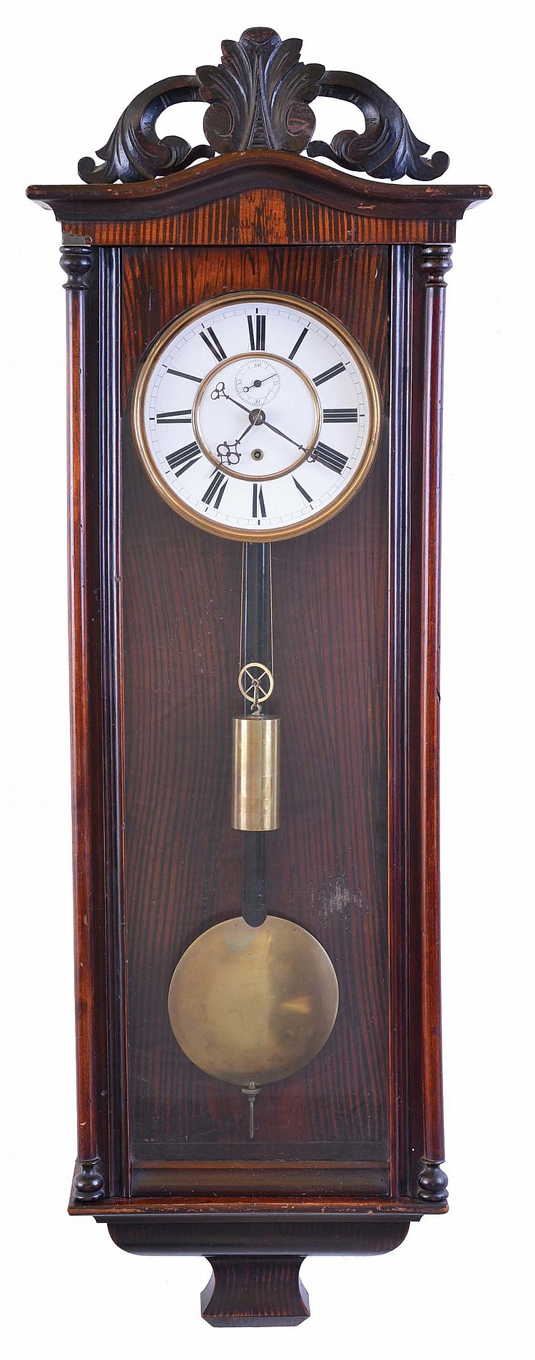 Germany, unsigned Vienna regulator style wall clock, 8 day, time only, weight driven movement in a mahogany case with white enamel two part dial, serial no. 44509