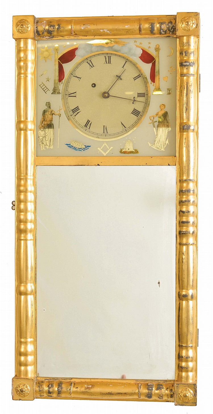 New Hampshire mirror clock reproduction, 8 day, weight brass movement. Based on the small tree loco on the dial this may have been made by Foster Campos.