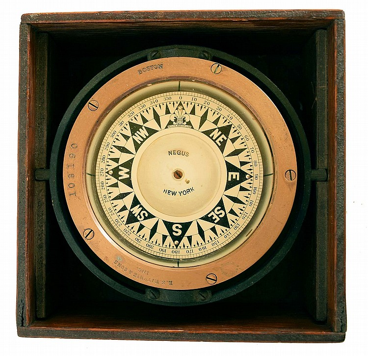 Clocks and Compass- 6 (Six) brass case marine instruments: Negus / Ritchie Boston antique boxed gimbaled ship compass; Roth Bros, New York, 8 day timepiece with signed black dial and 7 jewel LeCoulture movement; Chelsea / Boston quartz tide clock;