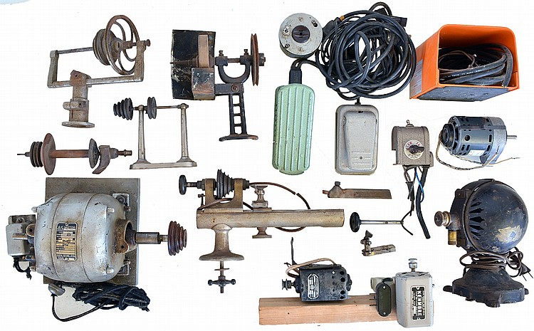 Tools- Clement lathe with rotating head stock, two Boley lathes, counter shafts, two large motors, one of which is working, three smaller motors, three foot peddles, belt driven grinding wheel, a few colletts and chucks, power takeoff and polisher,