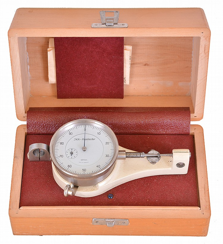 JKA- Feintaster bench micrometer, box mounted instrument measuring with metric scale, with instruction sheet