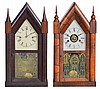 Clocks- 2 (Two): (1) Chauncey Jerome, New Haven, Conn., 30 hour, time and strike spring brass movement Sharp Gothic or Steeple Clock, c. 1850. (2) New Haven Clock Co., New Haven, Conn., 30 hour, time, strike and alarm spring brass movement Sharp