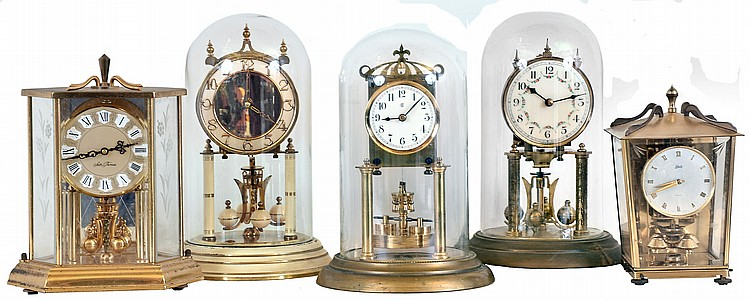 Clocks- 5 (Five) German 400 day brass and glass or