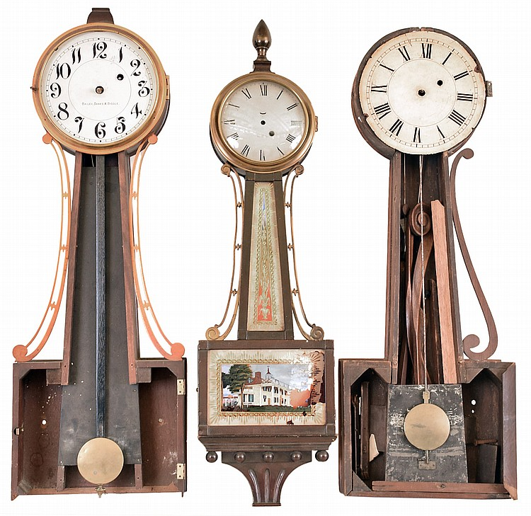 Clocks- 5 (Five) for restoration or parts: (1) Tift Banjo Clock, N. Attleboro, Mass., with a 8 day weight driven timepiece movement, c1840. (2) Waltham Clock Co, Waltham, Mass. Banjo clock with an 8 day weight driven timepiece movement, c1930. (3)