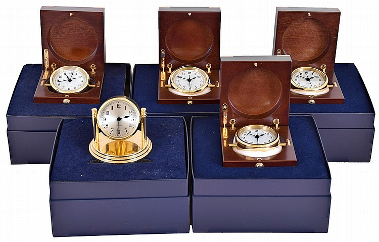 Clocks- 5 (Five) Chelsea Clock Company quartz movement lacquered brass desk clocks, new / old stock: four #20979