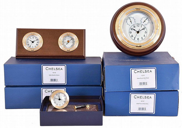 Clocks- 5 (Five) Chelsea Clock Company quartz movement clocks and desk sets, new / old stock in factory gift boxes: two #40- 137