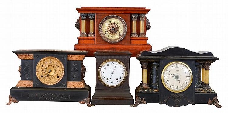 Clocks- 4 (Four): Mixed lot of two Seth Thomas Clock Co., 8 day, time and strike spring brass movement mantel clocks in Adamantine cases, one Seth Thomas Clock Co. mantel clock in Adamantine case, but with a battery movement and one Seth Thomas Clock