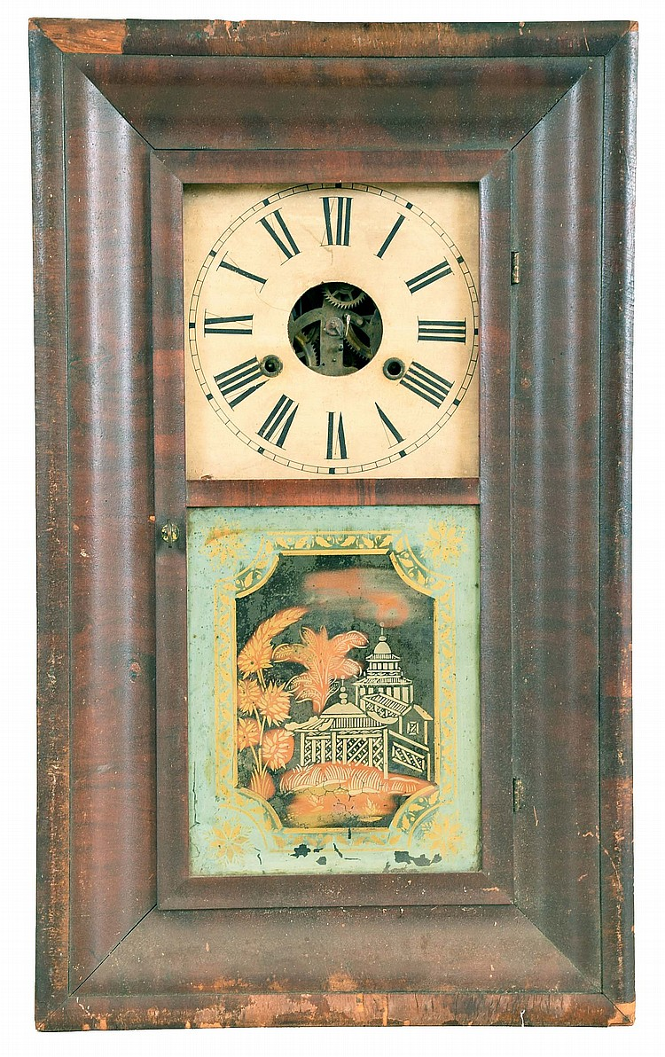 Clocks- 5 (Five) (1) Charles Stratton, Worcester, Mass. OG shelf clock with a 30 hour weight driven time and strike wooden works movement. label dated1841. (2) Elisha Manross, Bristol, Conn., OOG shelf clock with a 30 hour spring driven time and