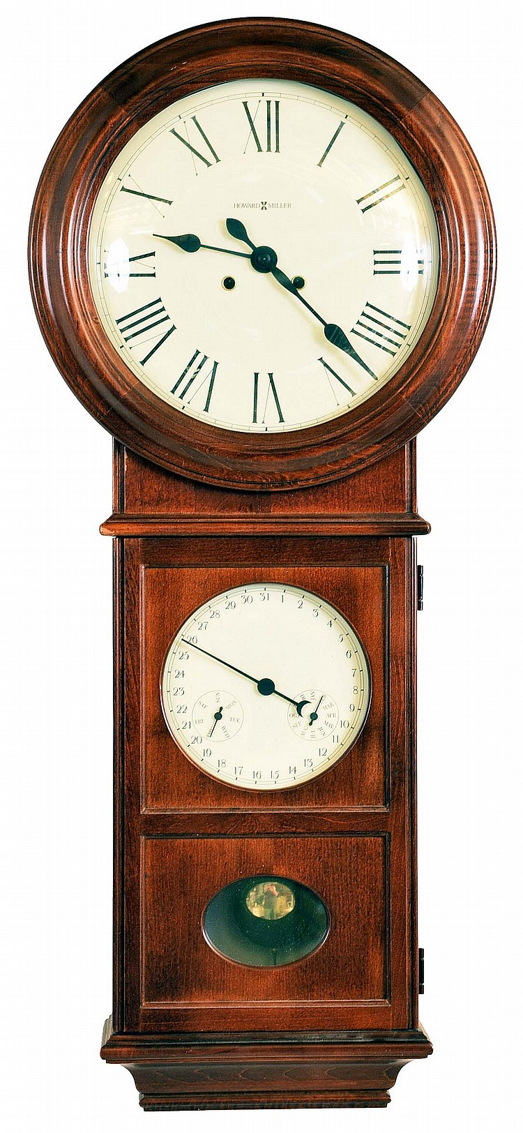 Clocks- 5 (Five) 8 day wall clocks: Russian submarine time only marine clock; Howard Miller and Seth Thomas large oak gallery clocks with two quartz movements each; Seth Thomas oak Regulator No.2, reissue No. 351 of 4,000; Howard Miller 620- 248 time
