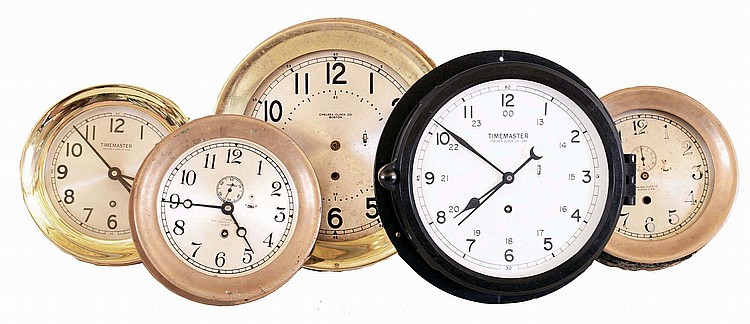 Clocks- 5 (Five) Chelsea Clock Company 8 day time only round wall clocks: