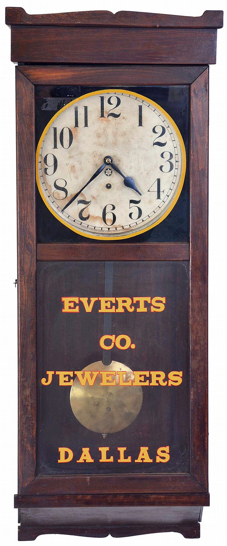 Clocks- 5 (Five): (1) Unmarked short drop school clock with a spring driven 8 day timepiece movement in a rosewood veneered case, c1890. (2) Waterbury, Conn., short drop hanging clock with a spring driven 8 day time, strike and simple calendar
