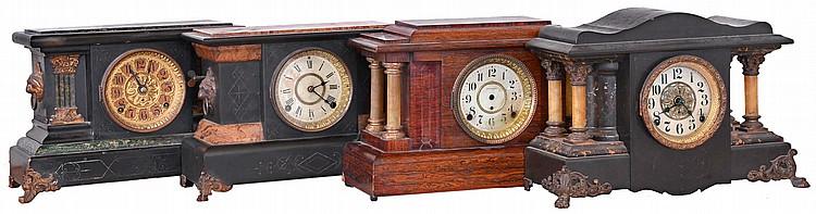Clocks- 4 (Four) (1) Seth Thomas Clock Co., Thomaston, Conn. 8 day, time and strike spring brass movement adamantine shelf clock, c1900 (2) Seth Thomas Clock Co., Thomaston, Conn.