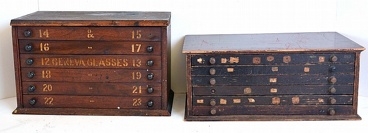 Watch crystal cabinets- 2 (Two), both with six drawers, one with an inventory of wrist watch crystals the other empty