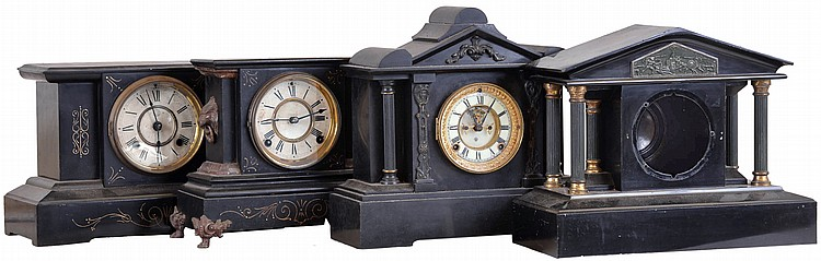Clocks- 4 (Four): (1) Ansonia Clock Co., New York, NY, Shelf clock with a spring driven 8 day time and half hour strike movement in an iron case, c1890, (2) Ansonia Clock Co., New York, NY Shelf clock with a spring driven 8 day time and strike