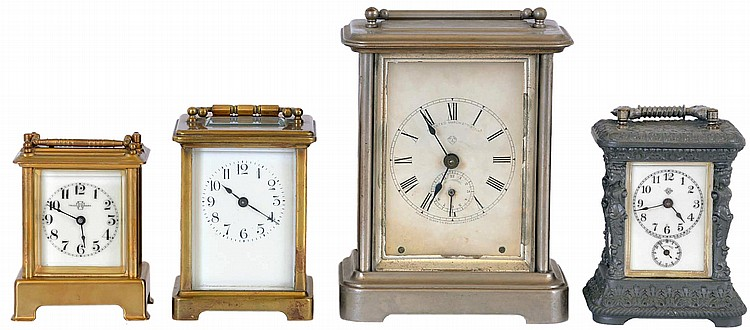 Clocks- 4 (Four),Carriage: the first a French timepiece with lever platform, the next an Ansonia timepiece with alarm, the third a Waterbury time and strike with repeat, an d the last an Ansonia Peep O Day timepiece with musical alarm