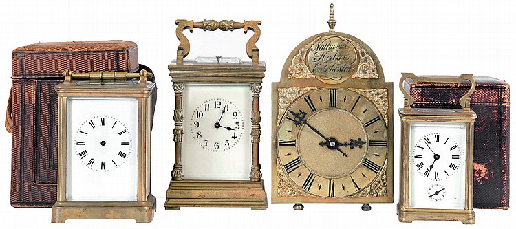 Clocks- 4 (Four), three carriage clocks, two with 8 day time and strike, hour repeating movements, one a timepiece with alarm, and a miniature lantern clock style desk clock with 8 day time and strike movement