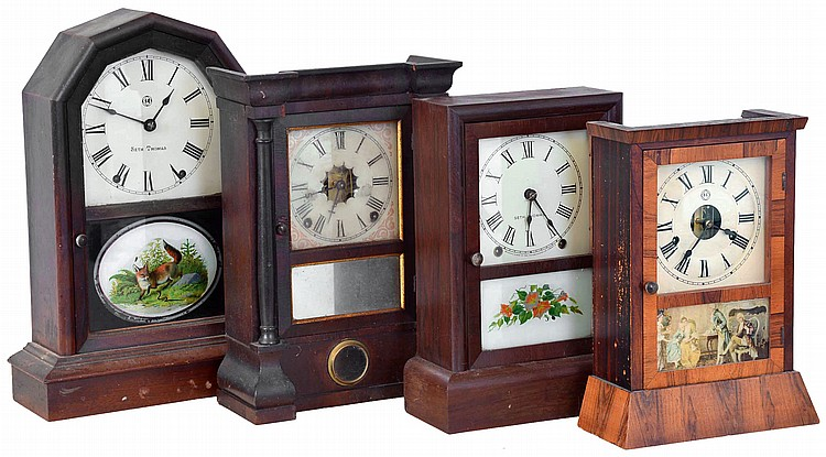 Clocks- 4 (Four): (1) Seth Thomas Clock Co., Thomaston, Conn., Shelf clock with a spring driven 8 day time and strike movement in a rosewood veneered case, c1890. (2) Seth Thomas Clock Co., Thomaston, Conn.