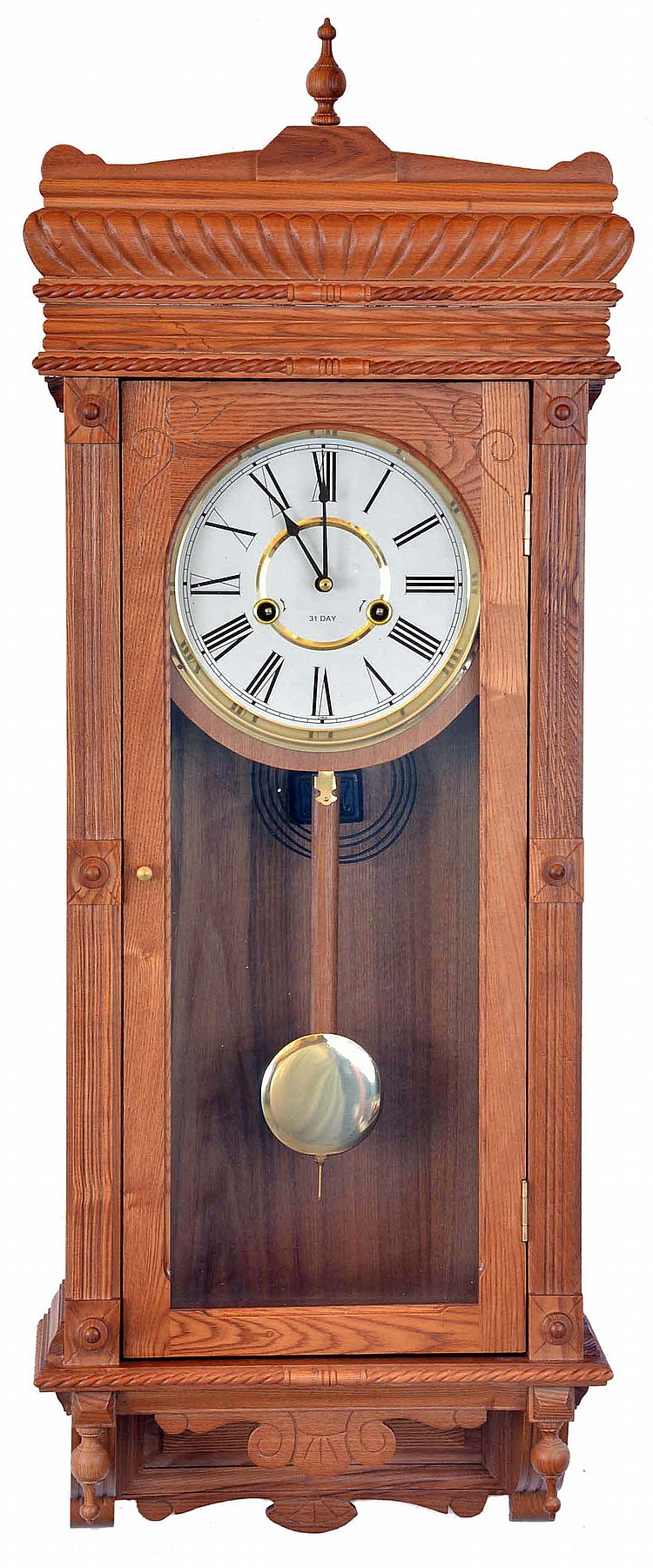 Clocks- 4 (Four): Clocks- 4 (Four): (1) Unmarked Baltimore style banjo reproduction wall clock with a spring driven movement in a wood case. c2000. (2) Unmarked reproduction of the Waterbury
