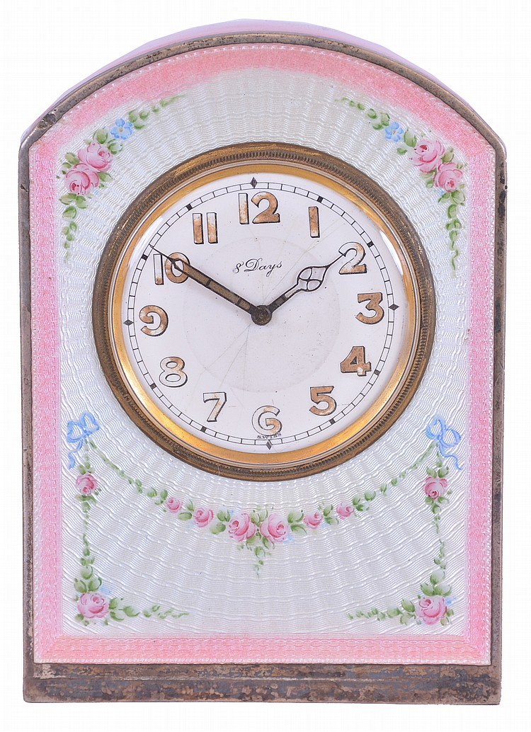 Desk or nightstand clock, silver gilt case with pink and blue guilloche enamel decorated with floral garlands, Arabic numeral white enamel dial with blued steel luminous hands, 8 day Swiss timepiece movement