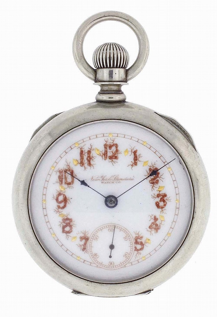New York Standard Watch Co., Jersey City, NJ, man's pocket watch, 18 size, 7 jewels, stem wind, lever set, damascened nickel plate movement with lever escapement in a nickel, hinged back and bezel, open face case, with rustic Arabic numeral O'Hara