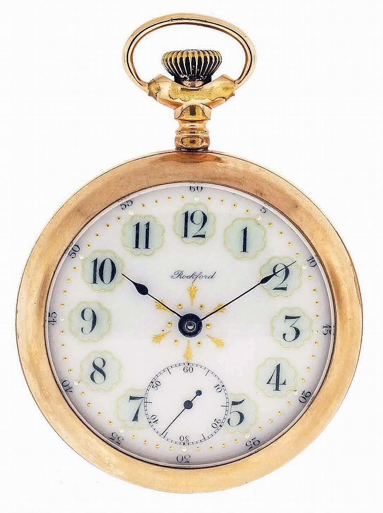 Rockford Watch Co., Rockford, Illinois, man's pocket watch, 18 size, 17 jewels, stem wind, lever set, damascened nickel plate movement with lever escapement, cut bimetallic balance and whiplash micrometric regulator in a yellow gold filled, screw
