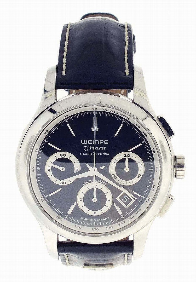 Wempe, Glashutte, Germany, Ref. WM54- 0002, Zeitmeister chronograph, chronograph, 27 jewels, automatic winding, spotted, nickel plate movement with lever escapement in a stainless steel case and black painted dial with baton markers with subsidiary