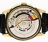 Rolex Watch Co., Switzerland, man's wrist watch, 17 jewels cal. 1520 automatic winding movement with lever escapement in a yellow gold filled case and baton marker, brushed metal dial with luminous baton hands, 34mm, c1960.