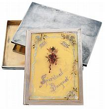 Tiffany & Co., Makers, sterling silver case with sterling framed devotional book, the cover with painting of the Sacred Heart, the dates 1891 and 1916, and titled